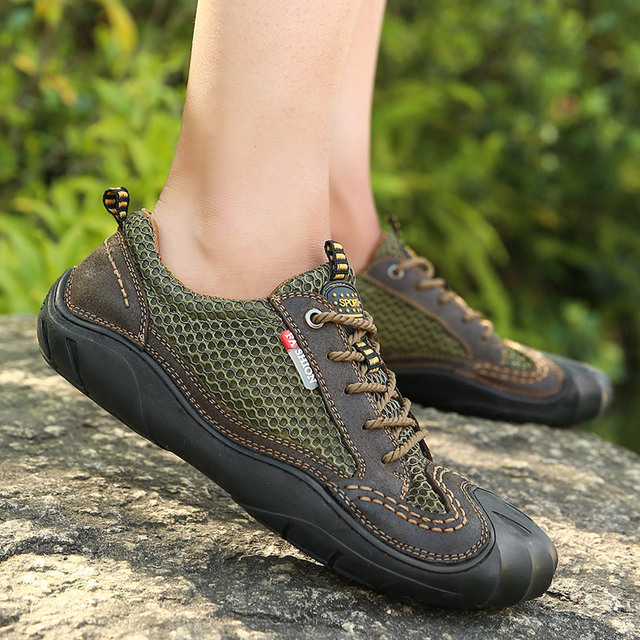 Classical Breathable Mesh Outdoor Hiking Shoes Genuine Leather Sneakers Non-Slip Trecking Climbing Shoes Flats Male Lace-up Shoe