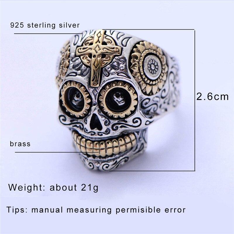 GAGAFEEL réel 100% 925 en argent Sterling squelette anneaux pour hommes mâle Punk Style crâne anneau argent bijoux meilleur cadeau - 6
