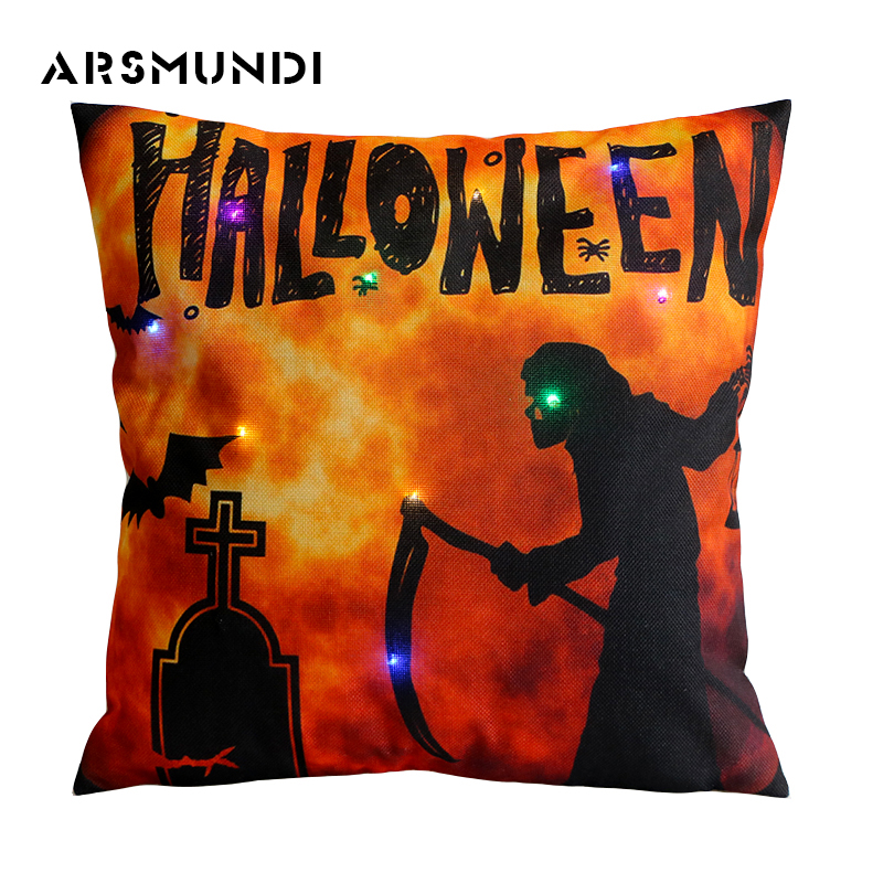 Fashion LED Halloween Cushion Cover retro dakimakura  Modern Vintage Pumpkin Lantern Pillowcase Home Devil Pillow Case