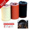 Alta resistência ao desgaste tampa de direcção cobertura de volante de couro macio de alta qualidade trança linha vermelho clássico cobertura de volante