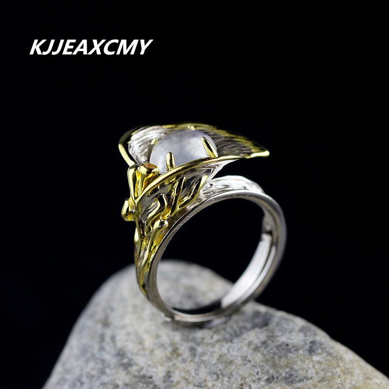 KJJEAXCMY holesale natural stone ring authentic 925 sterling silver moonlight crystal set auger super beautiful Contracted цена