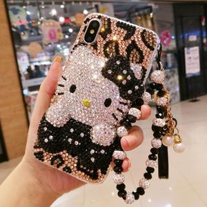 Image 1 - Sam S10 plus Bling Bling 3D Crystal leopard cat Cabochon DIY phone Case For Samsung Galaxy S9 S8 plus note9 note8 Luxury Cover