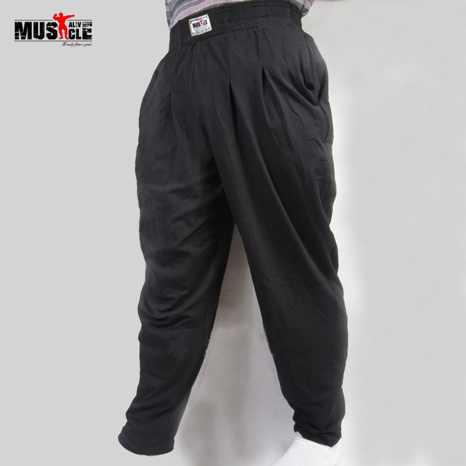 Men's Baggy Pants For Bodybuilding Loose Workout Trousers Lycra Cotton High Elastic Designed For Fitness Male Clothes Jogger XXL