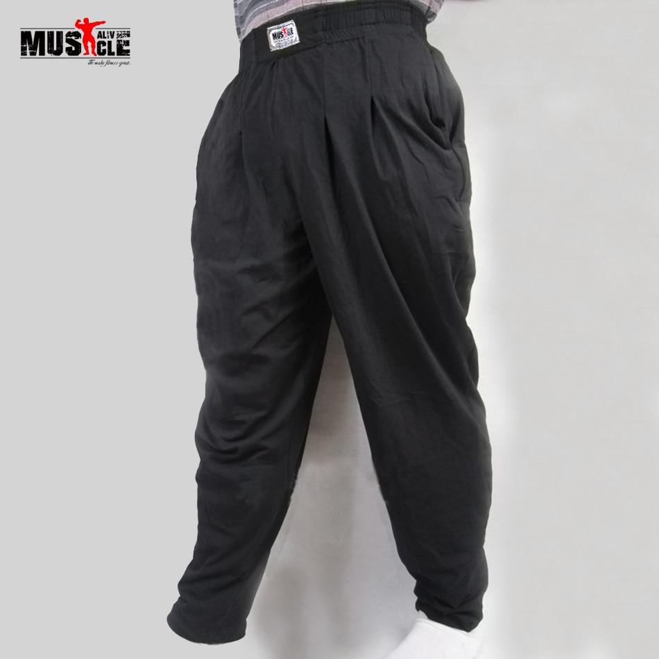 მამაკაცის ბაგები შარვალი Bodybuilding ფხვიერი ვარჯიშის შარვალი Lycra ბამბა მაღალი ელასტიური შექმნილია ფიტნეს მამაკაცის ტანსაცმელი Jogger XXL