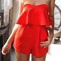 2017 летние элегантные сексуальные клуб комбинезоны 2016 красная falbala без бретелек комбинезон женщин сексуальный брюки костюм с карманом