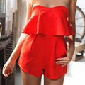 2017 summer elegant sexy club jumpsuits 2016 red falbala strapless playsuit women sexy pant suit with pocket