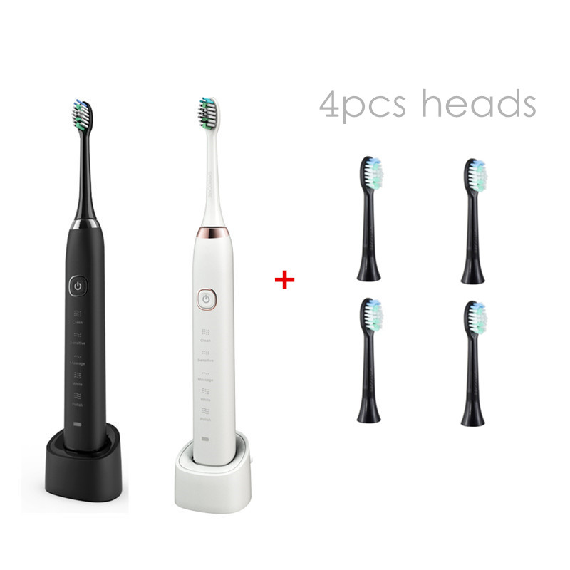 Sarmocare S100 electric Toothbrush 5 models with 4 brush heads Wireless rechargeable IPX7 Waterproof with Portable Travel case
