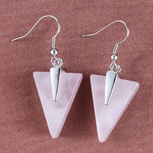 100-Unique 1 Pair Silver Plated Natural Rose Pink Quartz Triangle Shape Earrings Elegant Womens Earring