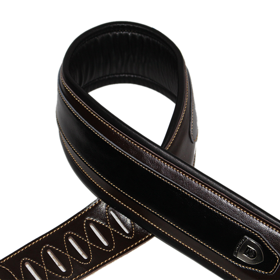Electric Guitar Bass Strap Cowhide Leather Front And PU Cushion Backside 145 cm Long 8 cm