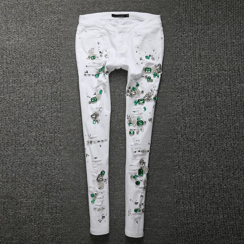 2018Fashion Jeans Women Pencil Pants Diamond Jeans Slim Elastic Skinny Pants Trousers White Hole Cotton Stretch