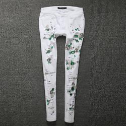 2018 модные джинсы Для женщин брюки-карандаш с бриллиантом в дырочку зауженные искусственно состаренные джинсы теплые леггинсы с эластичной