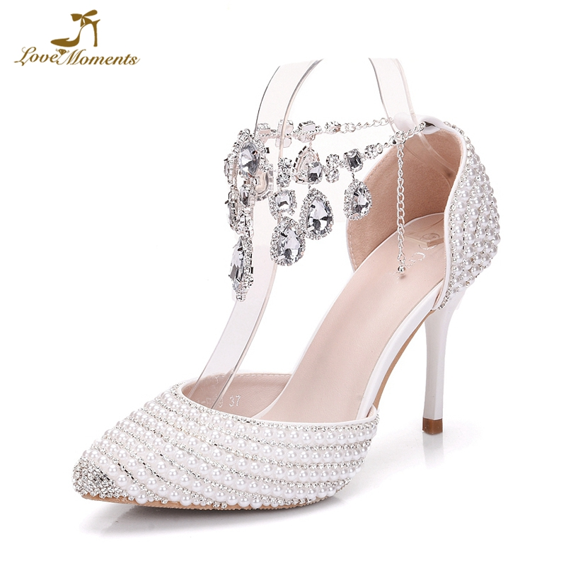 White Pearl With Silver Stone Bride Shoes 9cm High Heels