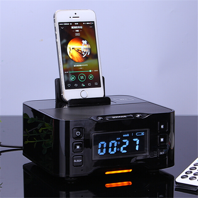 A9 Bluetooth USB Charging Dock Station Speaker with Advanced NFC FM Radio Alarm Clock for Iphone6 6s Samsung Galxy S6 s5 Note4 dual usb charging station charger dock for playstation 4 controller