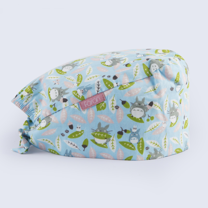 Japanese Totoro Print Surgical Tieback Cap Cotton Cute Nurse Medical Work Hat For Women And Men Adjustable Medicine Hat Cheap