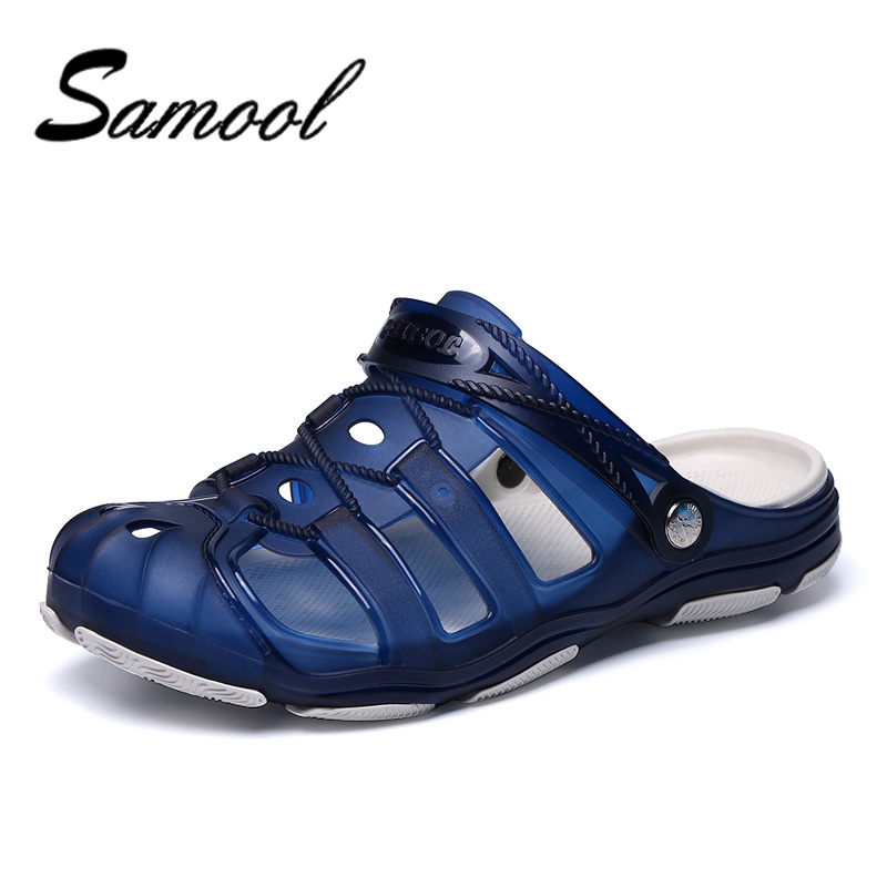 Summer Fashion Hollow out Breathable Beach Shoes Man Sandals Jelly Casual Flat Male Leisure Sandals Hole Shoes Flip Flops DX45 lcx 2017 summer pvc hollow out sandals glitter flat stock the bird nest hole wholesale or retail