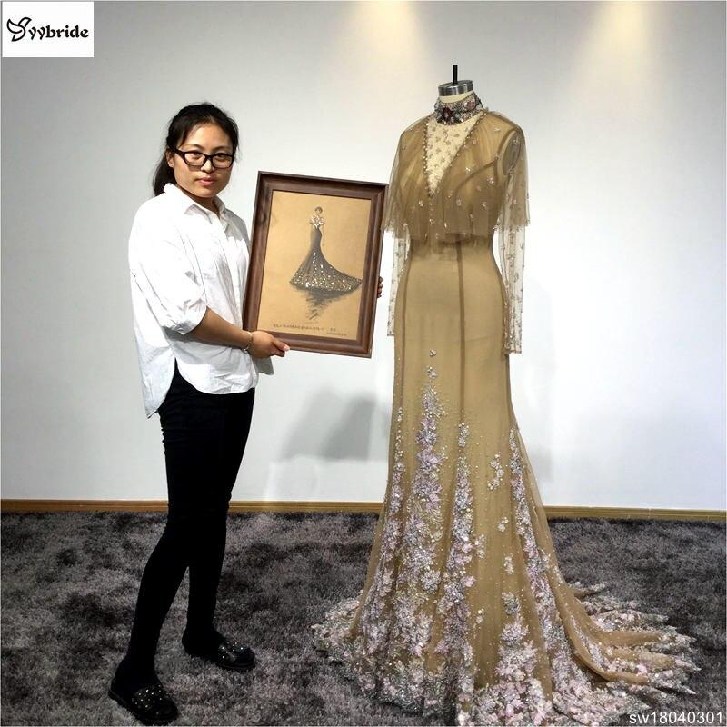 Camisa Real de cor Champanhe Chiffon Vestido De Noite Beading Handwork vestidos SW18040301