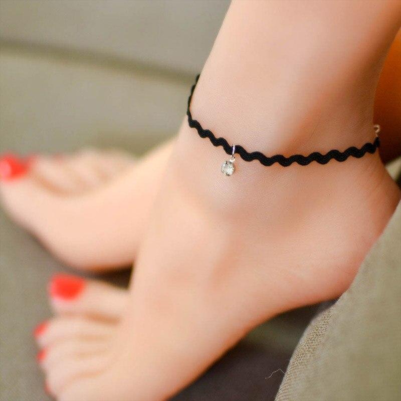 Boho Lace Anklets for Women Foot Jewelry Summer Beach Crochet Black Ankle Bracelet Sandals on the leg Female Bohemian Accessorie