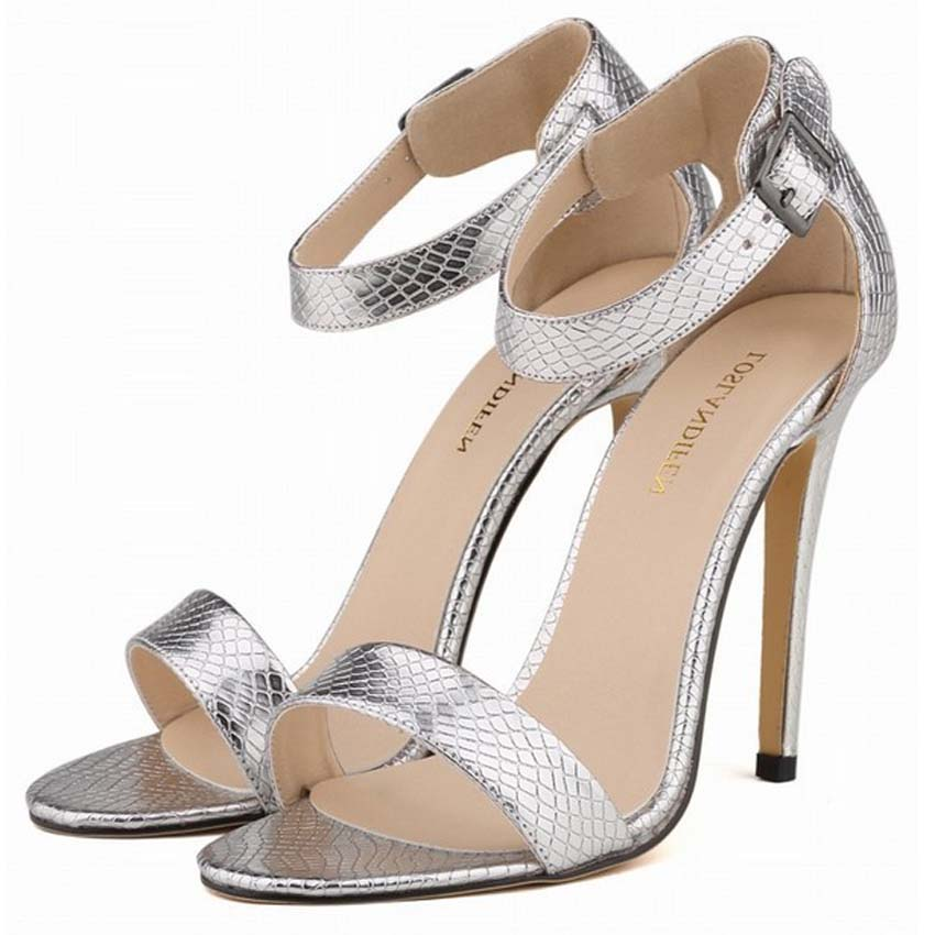 LOSLANDIFEN Women Sexy Sandals Pumps High Heel Stiletto Concise Ankle Strap Silver Gold Wedding Shoes Woman Pumps PlusSize 42 na its seoul 1000ml