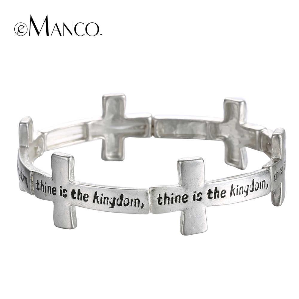 EManco croce elastico braccialetto della lega sottile inciso braccialetti antichi bracciali in argento per unisex lettere di stirata rotonda pulseras mujer