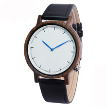 Natural  Wooden Watch with Genuine Brown Leather Strap Japanese Quartz Movement Casual Watches