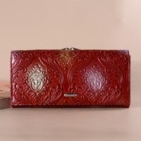 Vintage Genuine Leather Purse New Elegant Female Long Embossing Flower Hasp Wallet for Women