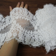3 yards long good quality and fine workmanship wedding veil border lace trimming! Double edging scallop chantilly for dress