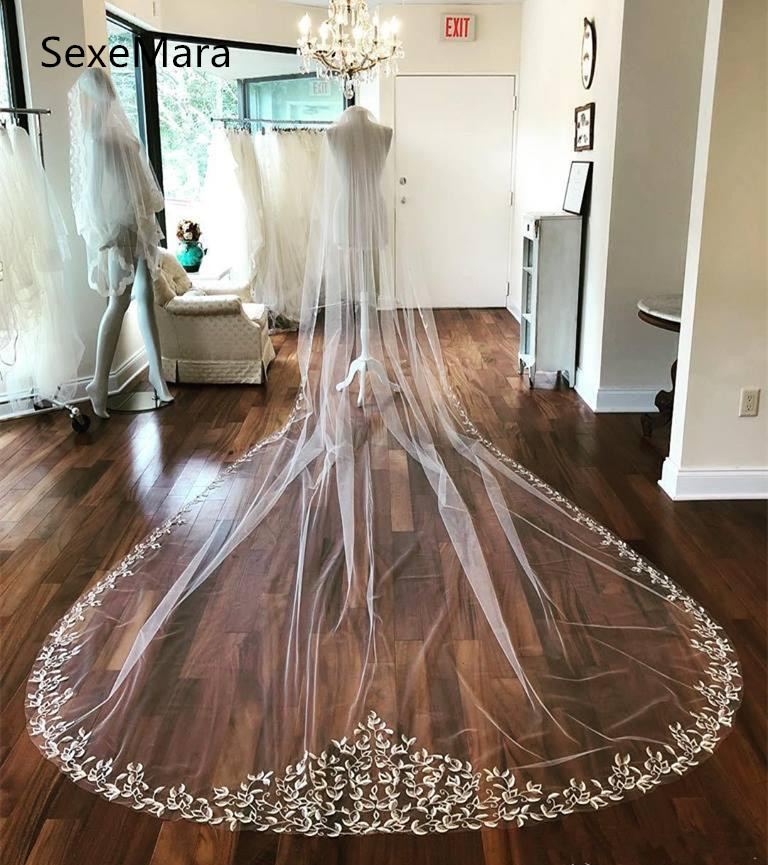 Real Picture White Wedding Veil One Tier 3 meters Cathedral Length Wedding Applique Soft Netting Bridal Veil with Comb