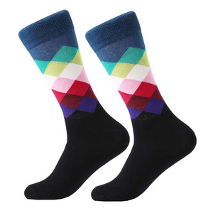 Image 3 - MYORED mens kleurrijke casual dress sokken gekamd katoen gestreepte plaid geometrische rooster patroon fashion design hoge kwaliteit