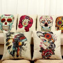 Cushion Case Home-Decorative Cover Sofa Linen Mexican Cotton Car Bed Almofada Skull-Pattern