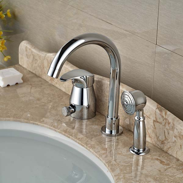 Widespread Chrome Brass Bathroom Tub Faucet W/ Hand Shower Sprayer Mixer Tap thermostatic valve mixer tap w hand shower tub spout tub faucet chrome finish