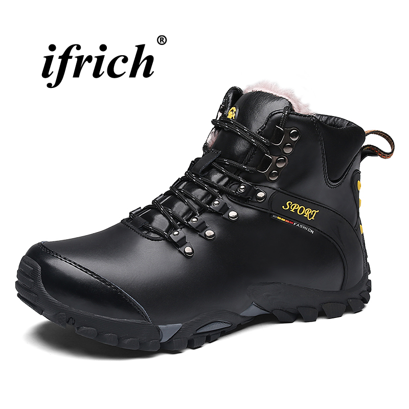 Man Hiking Boots Black Brown Climbing Boots for Men Big Size 38-46 Tactical Sneakers Man High Top Genuine Leather Mountain Shoes 2018 climbing boots for men brown man hiking shoes rubber bottom tactical boots male anti slip lace up man mountain shoes