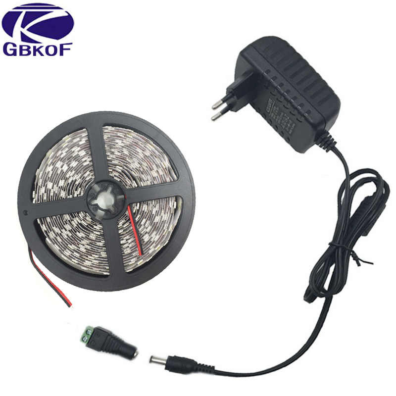 5050 led strip Wit Warm Wit RGB 5 m 10 m fita de led tape diode feed tiras lint 12 V led licht met DC 12 V power adapter