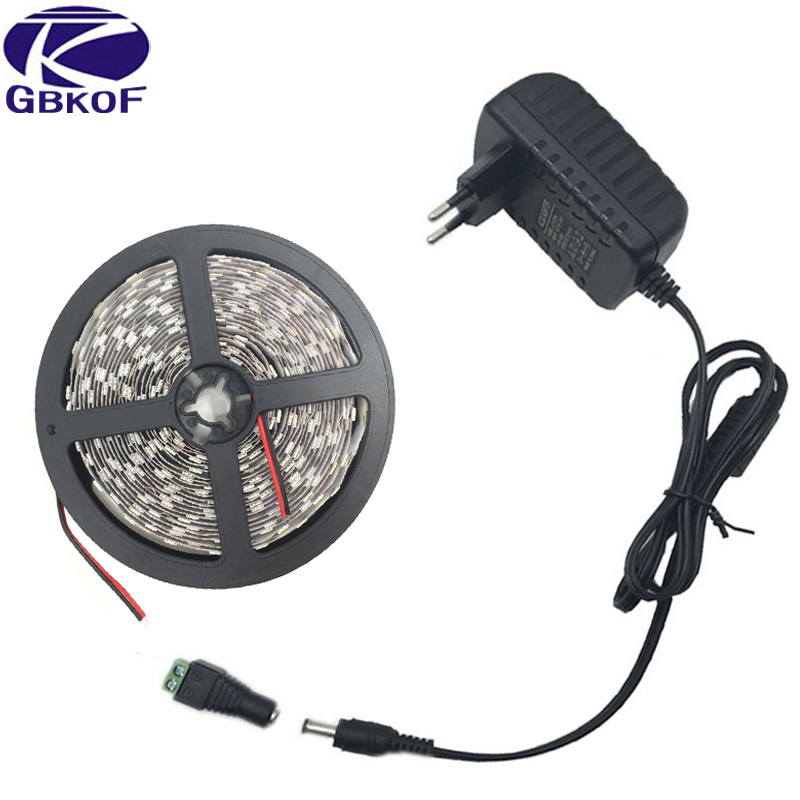 5050 Led Strip White Warm White RGB 5m 10m Fita De Led Tape Diode Feed Tiras Ribbon 12V Led Light With DC 12V Power Adapter