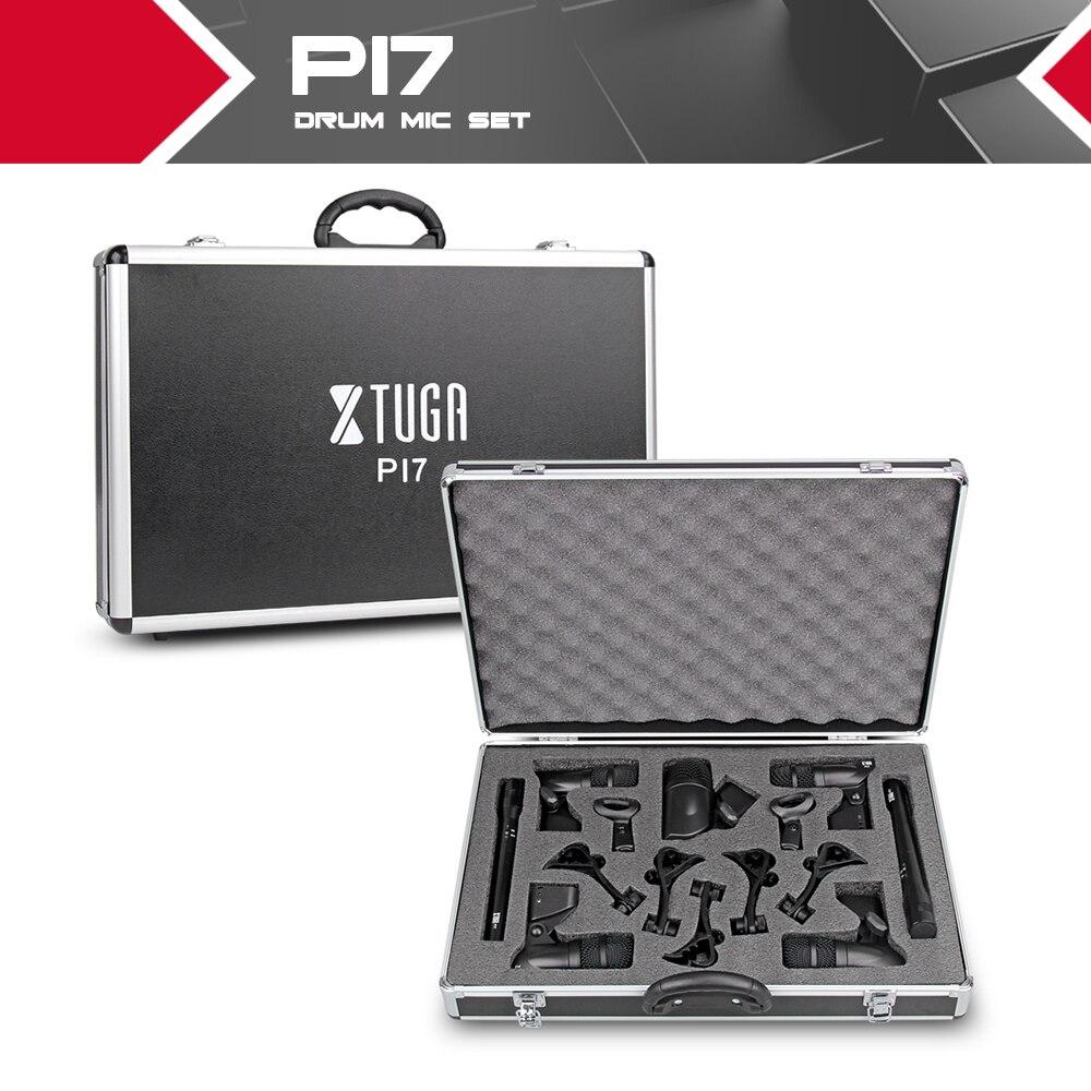 XTUGA PI7 Kit de micro de batterie dynamique filaire 7 pièces (métal et plastique)-Kick Bass, Tom/caisse claire & cymbales Set de Microphone-utilisation pour batterie