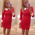 2016 Nueva Llegada Del Otoño Del Resorte Vestidos turn down collar casual vestido elegante vestido de las mujeres trabajan desgaste de Color Negro Rojo Azul J2323