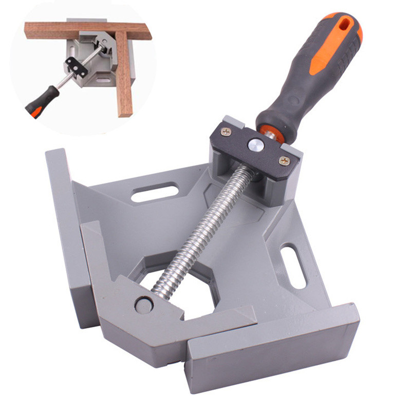 Industrial Grade Single Handle 90 Degree Aluminum Alloy Right Angle Clamps Welded Right Angle Woodworking Tool Angle Tool Clamp angle vise 90 angle great diy home handle tool 100% aluminum alloy corner clamp workbench