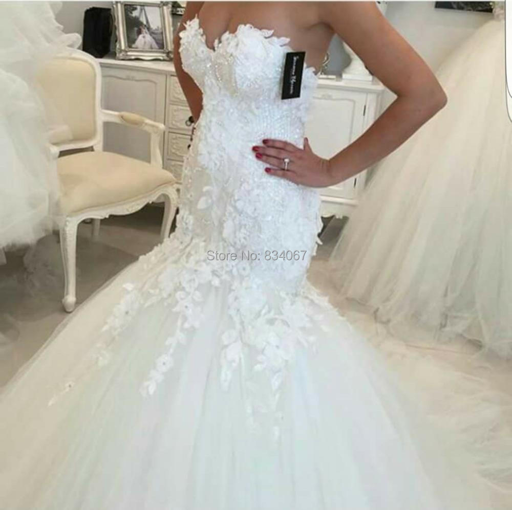 Opening Back Mermaid Wedding Dress 2017 Lace Appliques