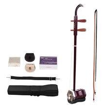 Violín chino de 2 cuerdas de madera sólida Erhu, Violín, instrumento Musical de cuerda rojo