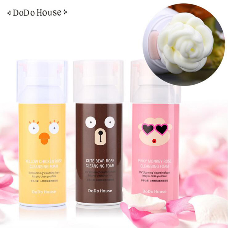 цена на Rose Cleansing bubble Facial Cleanser Moisturizing Whitening Skin Rich Foaming Shrink Pores Skin Care Makeup Deep Remover Foam