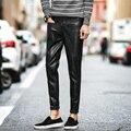 Nuevos Pantalones del resorte de Los Hombres 2017 Del Diseñador de Moda de Los Hombres Pantalones de Cuero de Corea Slim Fit Hombres Pantalones Casuales Para Hombre Pantalones de Cuero Negro de LA PU 33