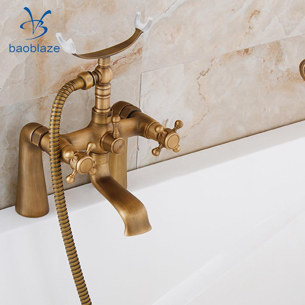 Antique Brass Cross Handle Bath Filler Mixer Taps Bathtub Shower Faucet Kit ...