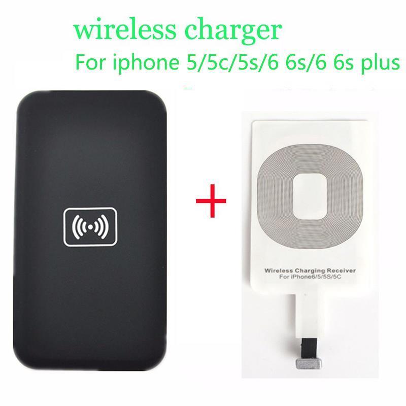 a946d20bd8 Qi carregamento sem fio kit para iphone 6 6 s plus 5 5c 5S pad carregador  de carregamento sem fio e receptor kit cartão