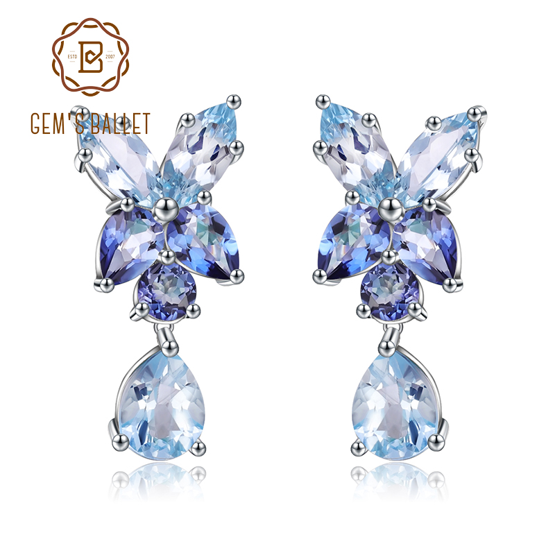 GEM'S BALLET Women's 925 Sterling Silver Fashion Drop Earrings Natural Sky Blue Topaz Mystic Quartz Earrings Engagement Jewelry