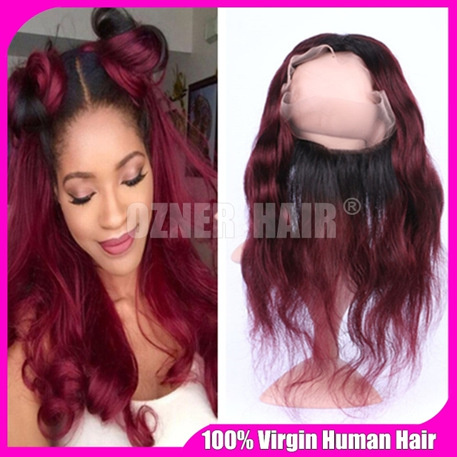 Wine Red Ombre Malaysian Body Wave 360 Lace Frontal Bleached Knot 1B 99J  Burgundy Ombre Virgin Human Hair Full Lace Band Closure 4b0477288