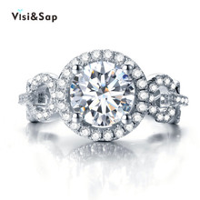 Visisap Luxury Retro Gifts Ring 2 Carat cubic zirconia Wedding Rings For Women engagement Lovers gifts fashion Jewelry VSR101