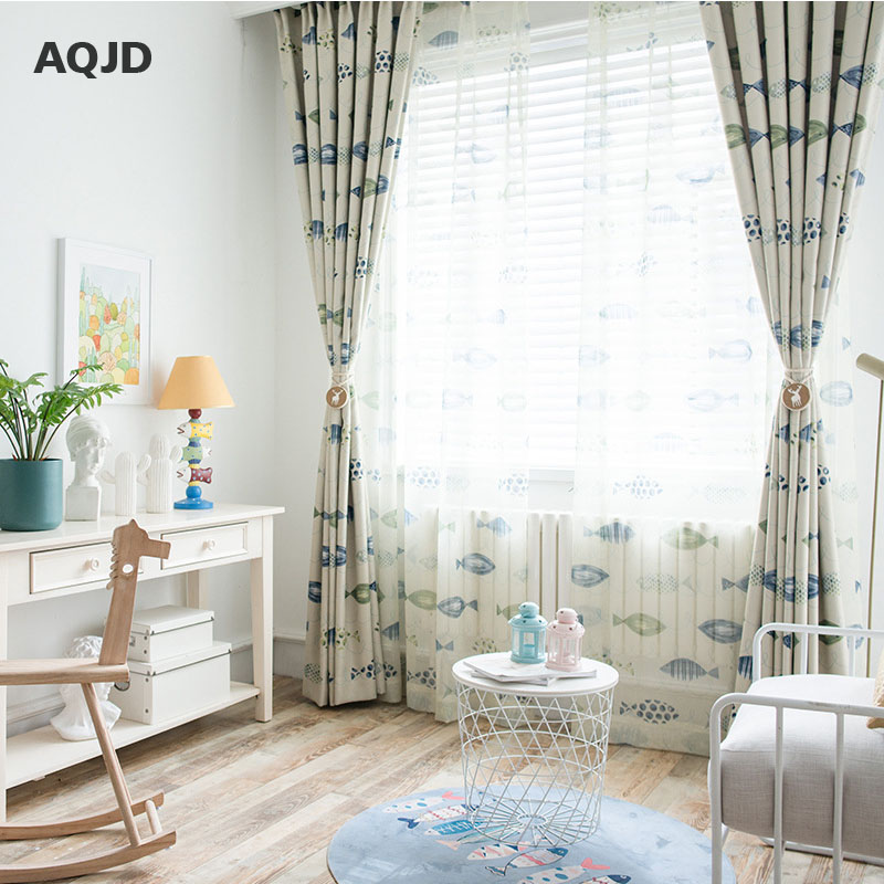 AQJD Cartoon Fish Blinds Finished Window Blackout Curtains