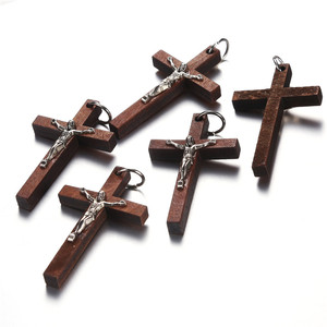 Image 2 - 100pcs 50*32MM Catholic Wooden Cross Jesus Charms For Jewelry Making DIY Accessories Jesus Christian Wood Cross Charms Pendants