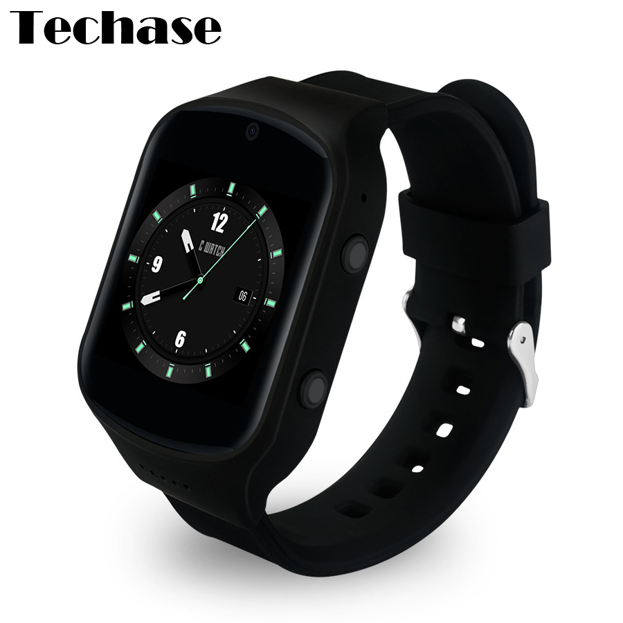 Techase Android 5.1 OS Smartwatch GPS Track Watch Heart Rate Monitor Watches 3G WiFi SIM Card 2.0M Camera SOS Function MTK6580 goldenspike x01 plus android 5 1 bluetooth smart watch mtk6572 support 3g wifi gps single sim micro sim heart rate monitor