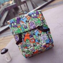 Японский карикатура рюкзак большое пространство цветочные повседневная harajuku холст мешок школы все матч опрятный стиль дорожная сумка