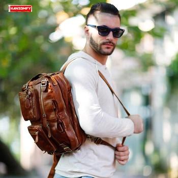 New Genuine leather Men's backpack retro Cowhide leather shoulder  bag slung men business casual portable computer backpacks
